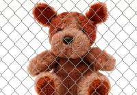 Teddy bear behind bars