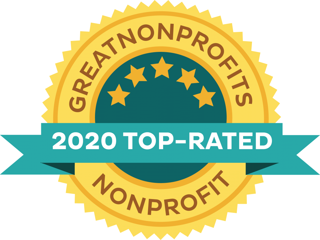 The badge says Great NonProfits 2020 Top-Rated Nonprofit
