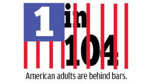 1 in 104 American adults are behind bars